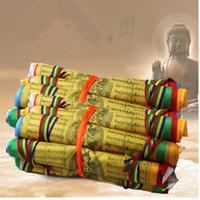 ingrosso decorazioni di colore grigio giallo-Buddit 30 pezzi in un 8 metri vento cavallo bandiere tibetano sacrezza 27 cm * 26 cm preghiera appeso bandiere tempio decorazione della casa per la preghiera