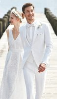 Wholesale Men S Beach Wedding - New White Pattern Wedding Suits For Men 3 Pieces(Jacket+Pants+Vest+Tie) Skinny Summer Beach Groom Blazer Prom Custom Masculino