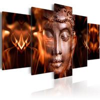 paneles de arte de pared de buda al por mayor-Amosi Art 5 Paneles Impresión en Lienzo Arte de la Pared de Oro Estatua de Buda Pintura Diamante Lienzo Pintura Cuadro de la Pared Estirada Arte Enmarcado