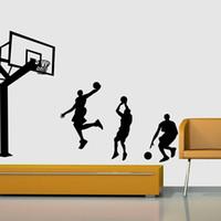 pegatinas de baloncesto al por mayor-la venta del nuevo jugador de baloncesto de la clavada pegatinas de pared papel tapiz removible DIY de la etiqueta del cuarto de niños para los muchachos de la sala Dormitorio