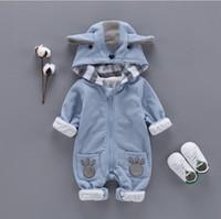 Wholesale hooded infant wears resale online - Fall Baby girls romper infant boys stereo cartoon ear hooded long sleeve outwear kids bear paw embroidery double out wear jumpsuits F1208
