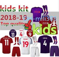 Wholesale boys youth shirts - 2018 2019 M.SALAH Kids soccer jersey kit 18 19 GERRARD MANE FIRMINO VIRGIL LALLANA M SALAH youth jerseys home child Football shirt uniforms