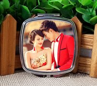 Wholesale Metal Picture Prints - hermal transfer printing blank makeup mirrors sublimation cosmetic mirror can print picture or design Square with rounded corners