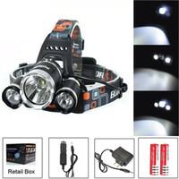 faros al por mayor-6000Lm CREE XML T6 + 2R5 LED faro faro Head Lamp Light 4 modos antorcha + 2x18650 batería + EU / US / AU / UK Cargador de coche para pescar luces