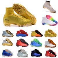 Wholesale Man S High Boots - Best football shoes men's CR7 CR501 boots new Ronaldo cr7 Black soccer boots superflys football boots high tops soccer cleats s