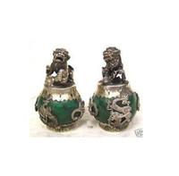 estátua de dragão de jade venda por atacado-1 Par HANDWORK tibet prata Verde Jade Carving Figuras Dragão Phoenix leão foo dog Estátua Tibetano Prata Bronze decoração