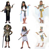 Wholesale halloween costume egyptians for sale - Group buy Halloween Costumes Boy Girl Ancient Egypt Egyptian Pharaoh Cleopatra Prince Princess Costume For Children Kids Cosplay Clothing
