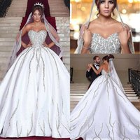 Ball Gowns for sale - Design White Ball Gown Wedding Dresses With Crystals Sweetheart Satin Chapel Train Wedding Gowns Formal Women Bridal Dress Brautkleider