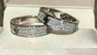 anéis de diamantes de zircon venda por atacado-Anéis de jóias de aço de titânio anel de casamento 2/3 linhas zircão diamante para homens e mulheres 2 cores selecione