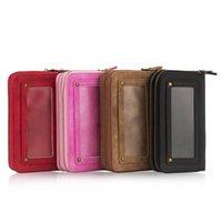 iphone cüzdan çift kılıf toptan satış-Retro Çift Fermuar Deri Cüzdan Telefon Kılıfı için Samsung Galaxy S9 S8 S7 S6 Kenar Not 8 ve iPhone 8 7 Artı vb