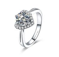 weißgold herz ring diamanten großhandel-1Ct Herz Muster 925 Sterling Silber Verlobungsring für Frauen Brilliant Synthetic Diamonds Ring Halo Style Weiß Gold Farbe