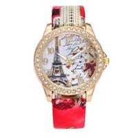 relógio de cristal da torre eiffel venda por atacado-Relógio de quartzo branco Torre Eiffel Torre do relógio homens dropshipping menwatch De Cristal De Couro De Quartzo Relógio De PulsoMAY0820