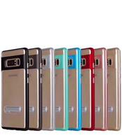 note pare-chocs plastique achat en gros de-Cadre de pare-chocs en plastique dur + Coque hybride TPU souple pour Iphone XS MAX XR X 8 7 Plus Galaxy S10 Lite Note 9 S9 antichoc Cache-support de couleur