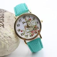Wholesale geneva watches floral resale online - New Fashion Floral Flower GENEVA Watch Leather Hours Women Dress Watches Quartz Analog Wristwatch relogio Ladies Watch Gift