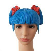 ingrosso maschere di mascheratura blu per le donne-MostaShow Pretty CD Blue Latex Parrucca donna Costumi Cosplay Parrucca per maschera Festival Costumi Halloween Party Party Masquerade