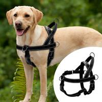 ingrosso giubbotto di sicurezza nero-Nylon Riflettente No Pull Large Harness per cani Imbracatura rapida per animali domestici regolabile per cani di taglia grande Golden Retriever Safety Black