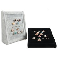 Wholesale studs stores resale online - Inclined Jewelry Ring Display Stand Velvet Boutique Store Shelf Showcase Exhibition Fashion Rings Cufflinks Stud Earrings Prop Tray