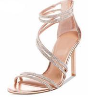 Wholesale women diamond open toe heels for sale - Group buy 2018 women diamond sandals open toe high heels wedding shoes glitter sandals rhinestone stud sandals lady party shoes