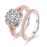 anillos de oro promesa parejas conjunto al por mayor-Juego de anillos de lujo para mujer Anillo de oro rosa de 18 quilates de lujo Anillo de boda de la vendimia Promesa Anillos de compromiso para mujeres