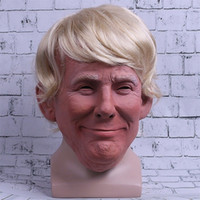 Wholesale presidents masks - President Trump Mask Realistic Adults Halloween Party Deluxe Latex Full Head Donald Trump Mask with Hair