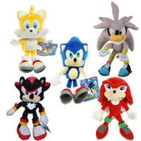 plüschtiere tags großhandel-Blue Sonic Plush Toys der Igel Sonic Tails Knuckles die Echidna gefüllt mit Tag 9