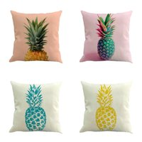 Wholesale Pineapple Decor - Pineapple Pattern Cotton Linen Pillow Case Throw Pillow Cushion Cover Seat Car Home Decoration Sofa Decor Decorative Pillowcase