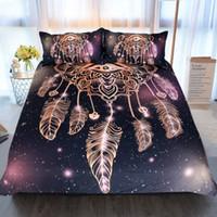 ingrosso biancheria da letto della galassia 3d-3 Pz Eye Dreamcatcher Bedding Set King Size Lusso Galaxy Stampa D'oro Biancheria Da Letto Bohemian 3d Universe Copripiumino SJ141