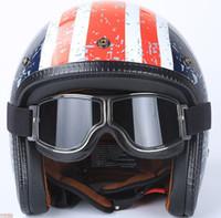 coussinets pour lunettes achat en gros de-Masque de moto Masque, Style Harley Protéger Rembourrage Casque Lunettes de soleil Vintage Road Riding UV Moto Verres (Coloré)