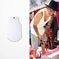 Wholesale wholesale blank tanks - Wholesale- Solid Color Curved Hem Longline Tank Tops Men 2017 Blank Extended Hip Hop Tank Tops Elongated Tank Top Justin Bieber Clothes BTS