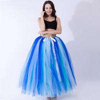 vestidos de dama de honor de ballet al por mayor-Falda larga del tutú de la gasa de Colorfull para la clase de funcionamiento de la danza del ballet para el tamaño libre de la falda de la dama de honor del vestido de partido de los adultos