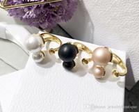 ingrosso disegni perla nera-Vendita calda 316L acciaio al titanio Corea del Sud perla in nero rosa bianco design aperto anello femminile per le donne anello bello gioielli PS5460