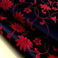 garngefärbte stoffe großhandel-Lotus Flower Chinese Kleid Baby Kleidung Kimono Cos Seidensatin Jacquard Damast Nähen Garn gefärbt Stoff Breite: 75cm