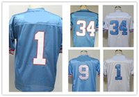 Wholesale Campbell S - WARREN MOON jerseys best Quality CURLEY CULP mens football shirts Steve McNair Throwback Retro EARL CAMPBELL BRUCE MATTHEWS color Blue White
