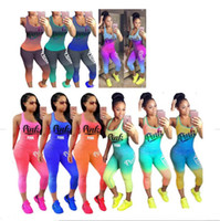 Wholesale women s silk pants suit - Love Pink Letter Gradient Outfit Scoop Neck Sleeveless Tank Top Vest Tights Pants Leggings Summer Women Tracksuit Sportswear Gym Camis Suit
