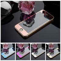 ingrosso lastre di vetro iphone-Vetro temperato colorato per la protezione dello schermo per Iphone 6 Iphone 5 Vetro colorato per lo specchio colorato anteriore e posteriore
