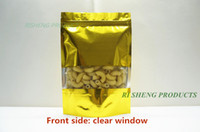 Wholesale wholesale stand up pouch - 10x15cm x Golden Stand up aluminium foil zip Lock bag with clear window Metallic Aluminized plastic pouch zipper resealable