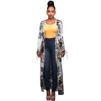 Wholesale Chiffon Tunic Beach Cover Ups - Vintage Floral Kimono Cardigan Fashion Women Long Sleeve Ethnic Floral Print Pareo Summer Beachwear Tunic Beach Cover Up 2018