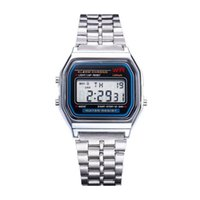 Wholesale watchbands for sale resale online - 2018 New Hot Sale Multifunction WR F91W Fashion Watches metal watchband LED Change Watch Sport A159W Watch For Student Kids