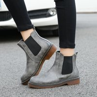 Wholesale women wedge ankle boot - SZSGCN84-Fashion Spirng Summer 3 Colors Brand New PU Leather Women ankle Martin short boots motorcycle flat Slip-on Shoes Plus size 34-43