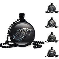 Wholesale Necklaces Gemstones - New Game of Thrones House Sign Necklace Animal Totem Wolf Dragon Lion Fish Time Gemstone Glass Cabochon Necklace Pendant Drop shipping