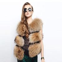kadınlar için kahverengi yelek toptan satış-Kadınlar Kış Taklit Rakun Köpek Kürk Yelek, Kalınlaşmak Sıcak Patchwork Kahverengi Giyim