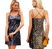 denizkızı kemeri toptan satış-kadın mermaid payetler mini elbisesi Kadın Moda Giyim Seksi Parlatıcılar Condole Belt Elbise Seksi Gece Kulübü Mini Elbise LJJK835