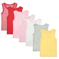 kleines mädchen sommert-shirt großhandel-7-8PCS 1-4Y Kinder T-Shirt Jungen T-Shirt Baby-Kleidung Kleines Mädchen Sommer ärmelloses Hemd T-Stücke Baumwolle feste beiläufige Kinder Kleidung
