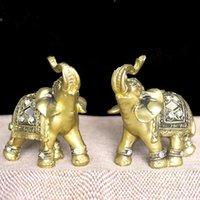 ingrosso elefanti figurina-Q -Glory 2pcs Lucky Golden Elephant Figurine in resina decorativa Elefante Figure Home Decoration Accessori Giardino in miniatura