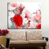 ingrosso la farfalla ha incorniciato la pittura a olio-Frame Painting By Numbers DIY Digital Flowers Butterfly Flying Oil Immagini su tela Kit da colorare Abstract Home Decor Wall Art