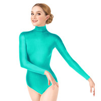 leotardos de las medias de las mujeres al por mayor-Ensnovo Mujeres Gimnasia Leotardo Ballet Dancewear Lycra Leotardo Ballet Mujer Dancewear Manga Larga Señora Bodysuit