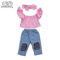 kazık atmak toptan satış-Emmababy 3 Adet Yeni Stil Yürüyor Çocuk Bebek Kız Elbise Kapalı Omuz Bluz Tops + Ripped Denim Pantolon 3 adet Kıyafetler Set 1-6 T