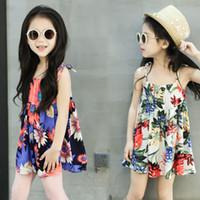 Wholesale Blue Suspender Skirt - Children big flower dress skirt cool dress summer beach dress