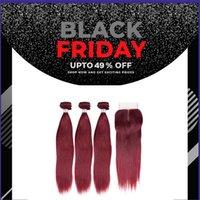kırmızı bordo kümes saç toptan satış-9a Bordo malezya Saç Örgü Demetleri Düz İnsan Saç kapatma ile kapatma 99J Kırmızı saç Demetleri ile Remy paketler