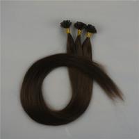 colores de cabello italiano al por mayor-Silky Straight 300g Prebonded Italian Keratin Nail Tip U tip Fusion Indian Remy Extensiones de cabello humano 300 strands 16